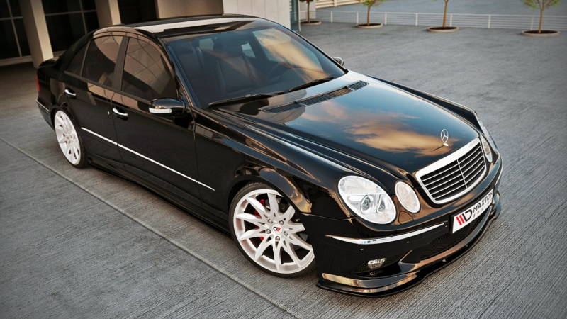 cup spoilerlippe front diffusor mercedes e klasse w211 amg. Black Bedroom Furniture Sets. Home Design Ideas